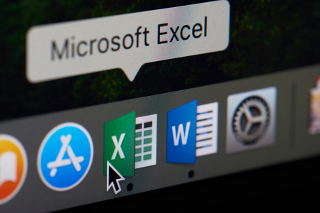 New york, USA - April 12, 2018: Microsoft office excel icon appliaction close-up on laptop screen