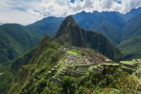 Drone view on ancient city Machu Picchu.
