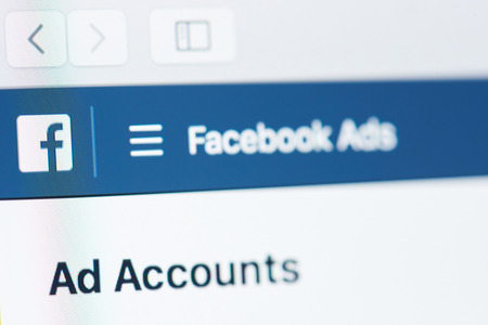 New york, USA - April 26, 2018: Facebook ads account on laptop screen close-up Redactioneel