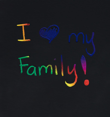 I love my family message message on black note background Stock Photo