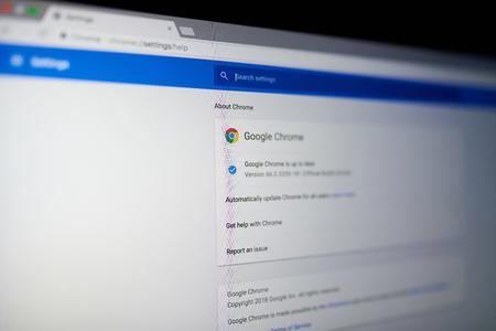 New york, USA - May 25, 2018: Google chrome internet browser menu on laptop screen close up