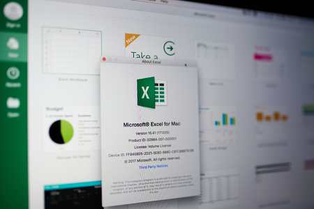 New york, USA - May 25, 2018: Microsoft excel menu on laptop screen close up