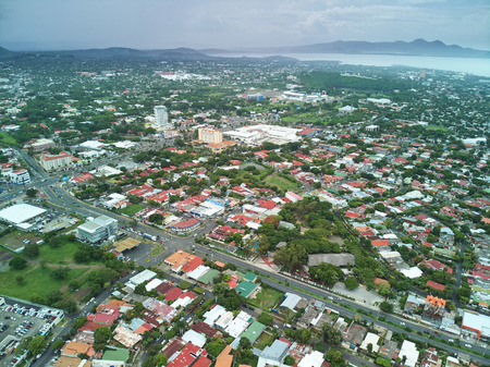 Center city of nicaragua aerial drone view on cloudy day Фото со стока