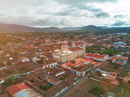 Sunny day in Granada town in Nicaragua aerial drone view Stok Fotoğraf