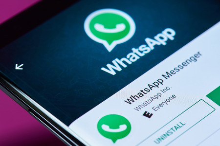 New york, USA - June 10, 2018: Whatsapp messenger application on android smartphone screen close up view