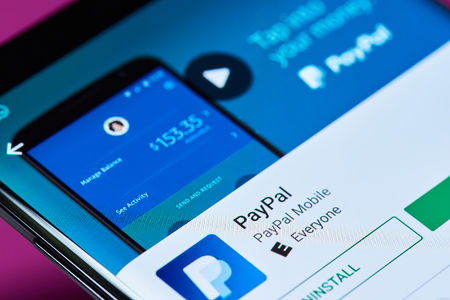 New york, USA - June 10, 2018: Paypal bank service on android smartphone screen close up view