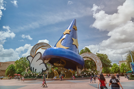 New york, USA - August 30, 2018: Big Mickey Mouse hat in Disney park on sunny bright day Editorial