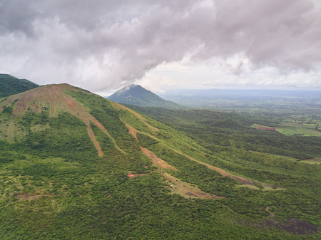 Aerial lnadscape of Nicaragua country. Jungle in landscape mountain of central america