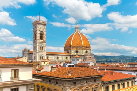 Florence landmark. Santa maria del fiore on blue sky background. Famous destination of Italy. Stock Photo