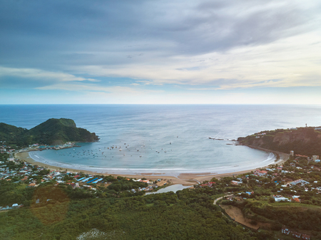 Ocean bay on sunset time aerial drone view Foto de archivo