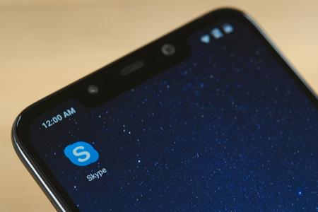New york, USA - september 24, 2018: Skype messenger icon on smartphone screen close up