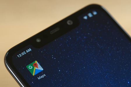 New york, USA - september 24, 2018: Google maps icon on smartphone screen close up