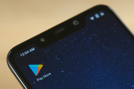 New york, USA - september 24, 2018:Google play store icon on smartphone screen close up