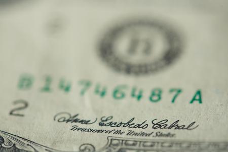 Signature of treasurer on dollar banknote macro close up view 스톡 콘텐츠