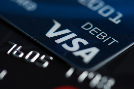 New york, USA - september 27, 2018: Visa debit card close up on blurred background