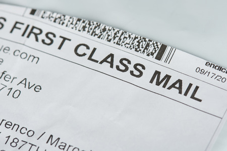 New york, USA - october 1, 2018: USPS tracking number on First class mail