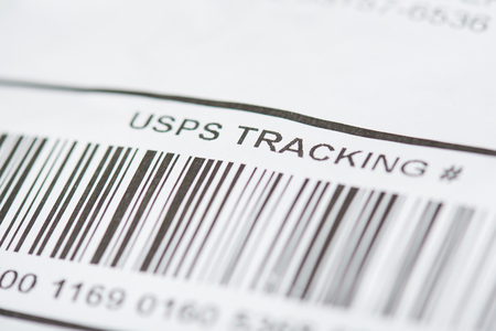 New york, USA - october 1, 2018: Bar code of USPS tracking number close up view Editorial