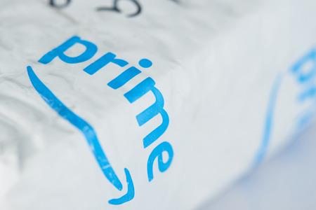 New york, USA - October 1, 2018: Amazon prime package on white box background Editöryel