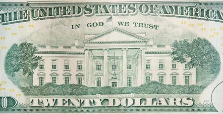 Parte posterior del billete de 20 dólares vista cercana. Tema de dinero