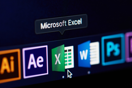 New york, USA - november 15, 2018:Microsoft excel icon on device screen pixelated close up view
