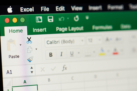 New york, USA - november 15, 2018:MIcrosoft office excel spreadsheet  on device screen pixelated close up view Editorial