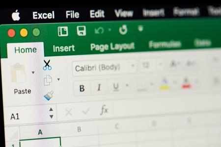 Nueva York, Estados Unidos - 15 de noviembre de 2018: Microsoft Office Excel hoja de cálculo en la pantalla del dispositivo pixelada vista cercana