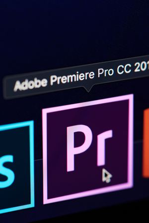 New york, USA - november 15, 2018:Adobe premiere pro icon on device screen pixelated close up view