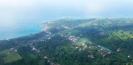 Above view on corn island in Nicaragua. Aeroport on island theme