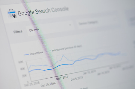 New york, USA - january 24, 2019: Google search console menu on device screen pixelated close up view Редакционное