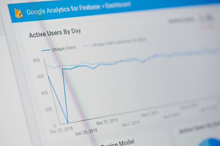New york, USA - january 24, 2019: Google analytics for firebase menu on device screen pixelated close up view