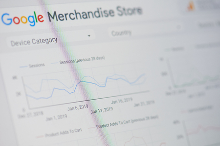 New york, USA - january 24, 2019: Google merchandise store menu on device screen pixelated close up view Editorial