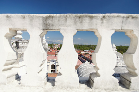 Cityscape of Leon town from white roof of cathedral