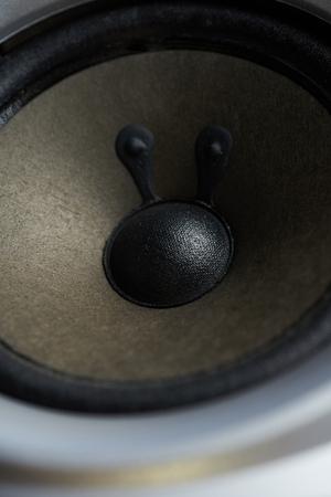 Audio speaker close up. Sound speaker subwoofer system Stock Photo