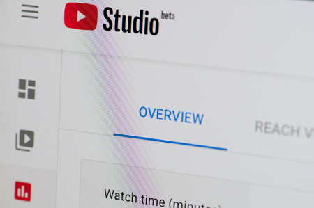 New york, USA - february 6, 2019: Youtube studio betaweb page on device screen pixelated close up view