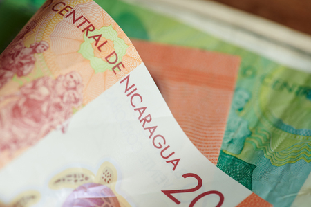 Twenty cordoba banknote money of nicaragua country