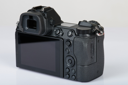 Digital camera with big screen back side view isolated Stock Photo