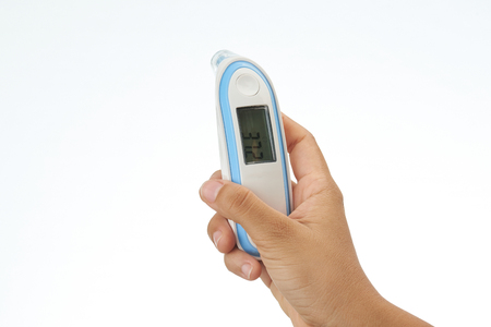 Hand holding digital thermometer isolated on white background