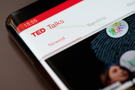 New york, USA - march 11, 2019:Ted talks app menu social network on smartphone screen Editorial