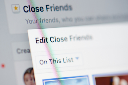 New york, USA - march 11, 2019: Editing Close friends list in facebook social network on smartphone screen