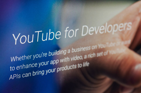 New york, USA - march 14, 2019: Youtube for developers service on laptop screen close up view