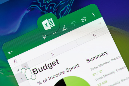 New york, USA - april 8, 2019: Microsoft  office excel  application on digital screen macro close up view