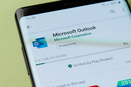 New york, USA - april 22, 2019: Installing Microsoft outlook