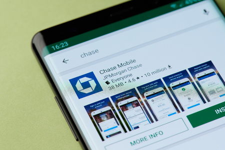 New york, USA - april 22, 2019: Installing chase mobile bank to smartphone app from google market