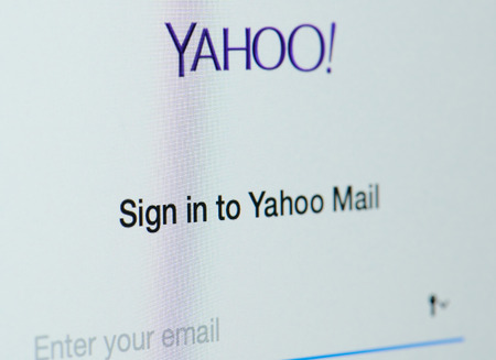 New york, USA - april 22, 2019: Sign in to yahoo email on laptop screen close up