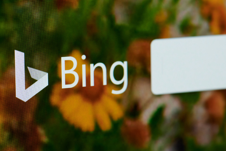 New york, USA - april 22, 2019: Bing search home page on laptop screen close up