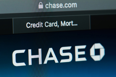 New york, USA - april 22, 2019: Chase bank home page on laptop screen close up Editorial