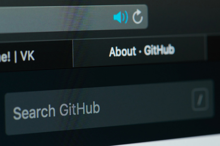 New york, USA - april 22, 2019: Search in Github platform on laptop screen close up