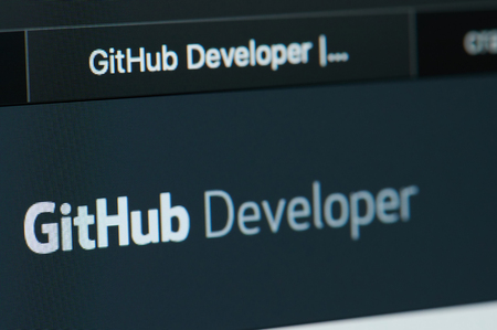 New york, USA - april 22, 2019: GitHub developer home page on laptop screen close up Editorial