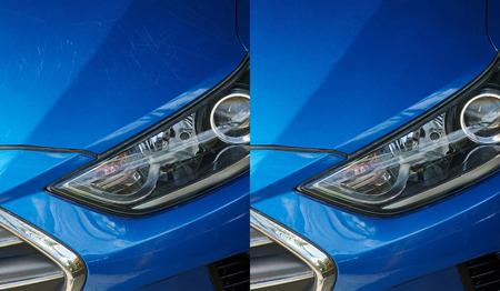 Auto Detaillierung Thema. Kratzer auf blauem Autolack entfernen