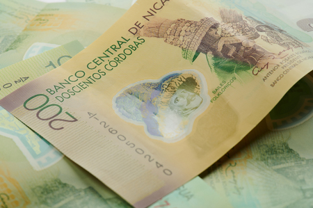 Nicaragua 200 money banknote close up view